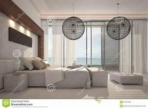 Camera Da Letto Esclusiva Di Progettazione Architettura Dell'interno 3d Illustrazione di Stock