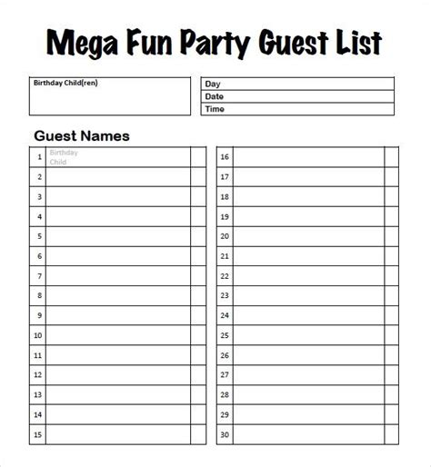 guest list templates word excel  templates