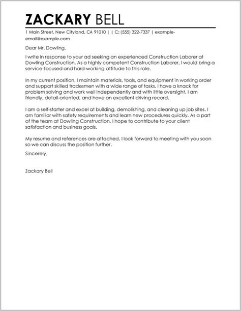 Cover Letter Exles For Practitioners by Construction Cover Letter Exles For Resume 28 Images