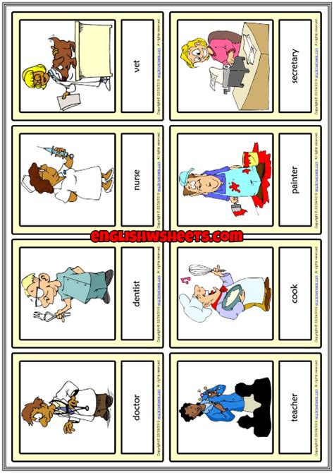 jobs esl printable vocabulary learning cards  kids
