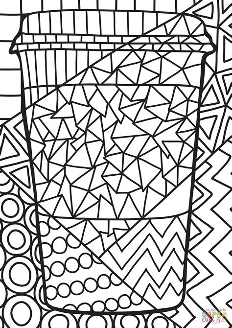 pop art paper cup coloring page  printable coloring