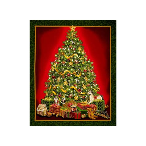 best time of the year metallic christmas tree 35 quot panel green discount designer fabric