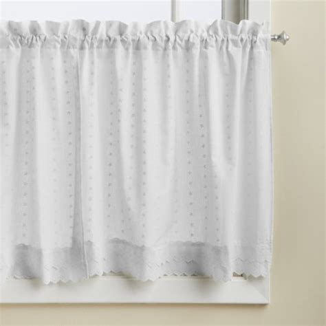 white eyelet kitchen curtains lorraine home fashions ribbon eyelet window tier 60 by 36