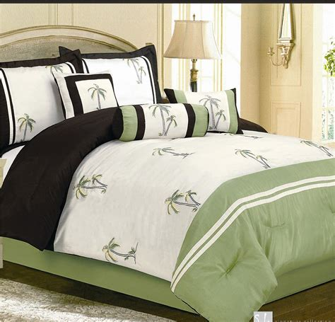 7pc catalina green palm tree faux silk comforter bedding