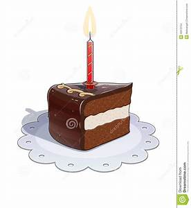 Piece Of Chocolate Cake With Candle Stock Illustration ...