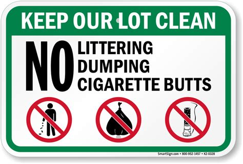 No Littering Dumping Cigarette Butts Sign, Sku K20328