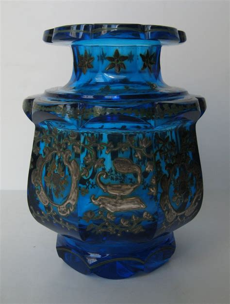 glass vase with top turquoise glass vase with scalloped top and shaped base