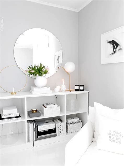 light grey paint color with white furniture and decor for