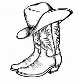 Coloring Cowboy Boot Boots Popular sketch template