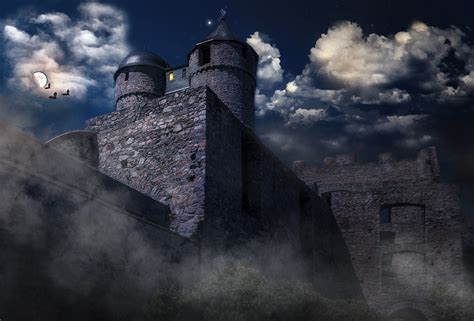 illustration castle mysterious moonlight  image  pixabay
