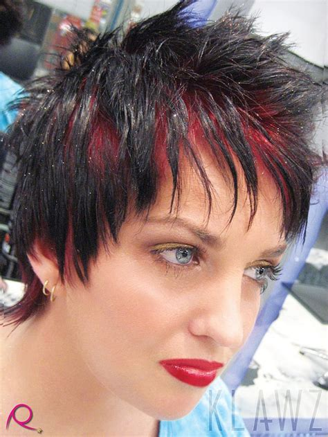 Short Hair Black With Bright Red Roots And Glitter