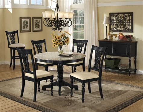 Hillsdale Embassy Round Pedestal Table with Granite Top
