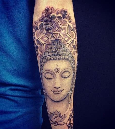 medium size dot style stone buddha statue tattoo