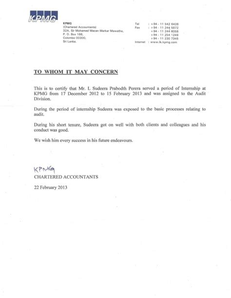 request for letter of recommendation kpmg reference letter 27549