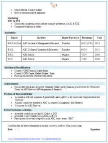best cv format for freshers doc martin mba finance fresher resume template 2 career pinterest