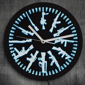 Gun, And, Bullets, Led, Neon, Sign, Wall, Clock, Vintage, Different, Guns, Design, Illuminated, Wall, Clock