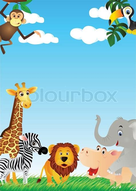animal cartoon background stock vector colourbox