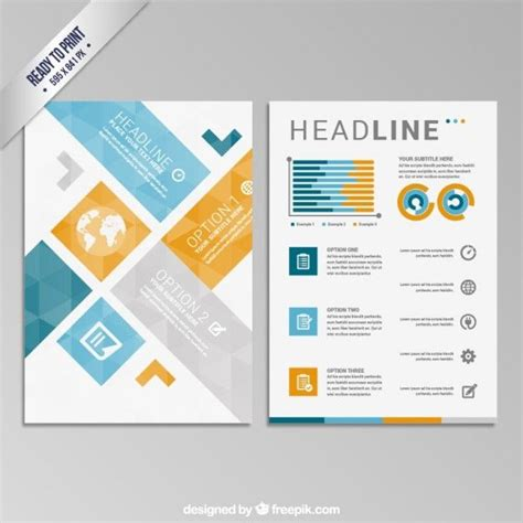 Template Folding Brochure Design Style Material Geometric Brochure Free Vector Free Trifold