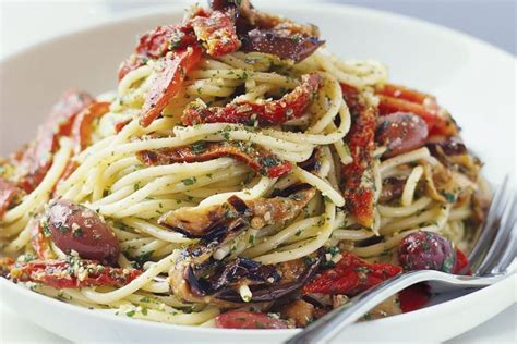 vegetarian pasta recipes pesto and chargrilled vegetable pasta