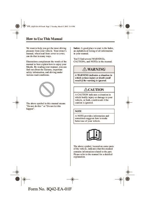 how to download repair manuals 2004 mazda miata mx 5 lane departure warning 2002 mazda mx 5 miata owners manual