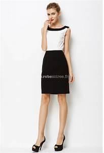 Coiffeuse Noir Et Blanche : robe courte working girl blanche et noire ~ Teatrodelosmanantiales.com Idées de Décoration