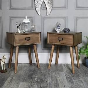 Schlafzimmer Vintage Style : paar von holz 1 schublade bett tischlampe retro urban b ro schlafzimmer m bel ebay ~ Michelbontemps.com Haus und Dekorationen
