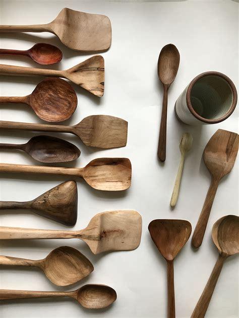 wooden spoon carving  spoon hook lady luck flower farm