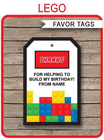 lego favor tags   tags birthday party
