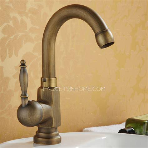 antique bronze stick side handle single hole bathroom