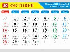 kalender indonesia Bulan Oktober 2018 lengkap pasaran Jawa