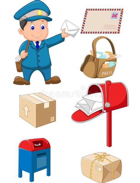 11478 mail letter clipart mail carrier with bag and letter stock vector