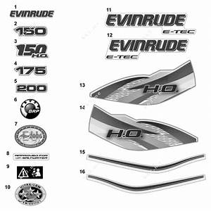 Evinrude Aa Models 150 - E150dslaaa  Decals White