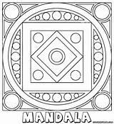 Mandala Coloring Square Shape sketch template
