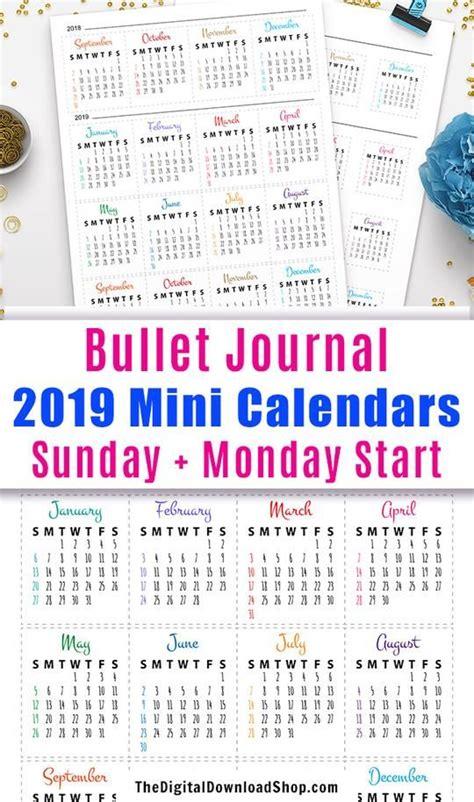 bullet journal mini calendars printable bullet