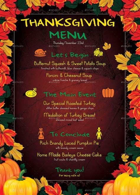 selling thanksgiving restaurant menu templates