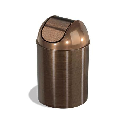 trash cans for kitchen shop umbra mezzo 2 5 gallon bronze plastic trash can at