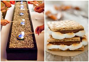 wedding table linen rentals smores station