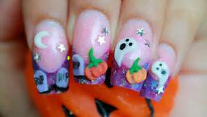 Halloween d nail art cute purple glitter acrylic design kawaii