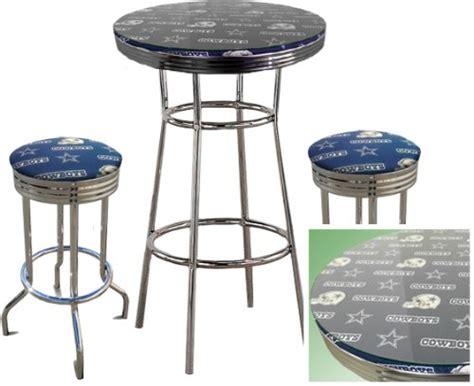 glass pub table set dallas cowboys nfl football glass top chrome bar pub table