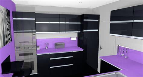 d馗oration de cuisine moderne cuisine moderne noir et violet waaqeffannaa org design d 39 intérieur et décoration