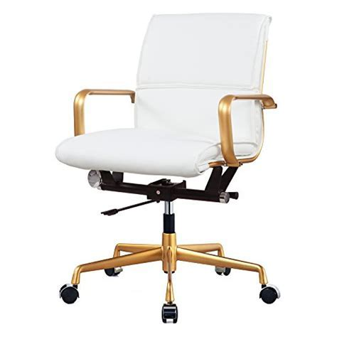 Meelano 330 GD WHI M330 Home Office Chair, Gold/White