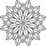 Mandala Coloring Pages Flower Simple Patterns Printables sketch template