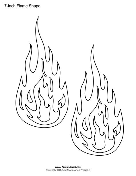 Printable Flame Stickers, Flame Templates, Flame Shapes