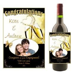 wedding wine bottle labels personalised wedding engagement congratulations wine chagne bottle photo label n16