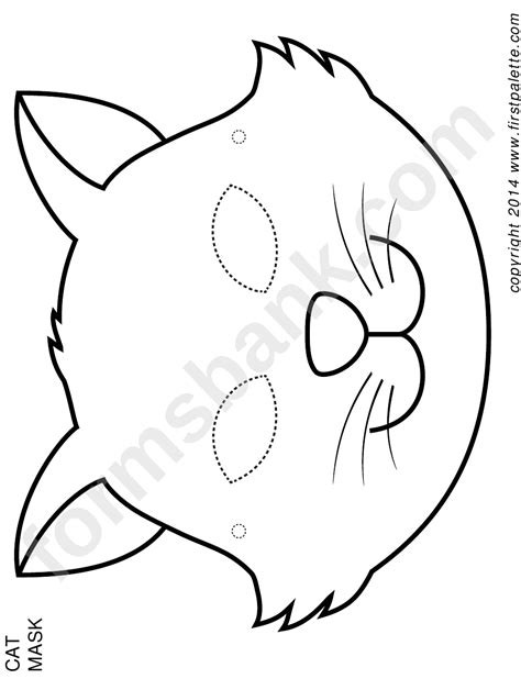 cat mask coloring template printable