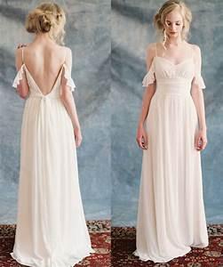 elegant boho beach wedding dress 2016 chiffon long white With long white beach wedding dress
