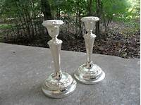 silver candlestick holders Vintage Silver Candle Holders Silverplate Candlesticks Silver
