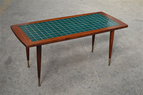 tile coffee table mid century modern turquoise tile top coffee table at 1stdibs