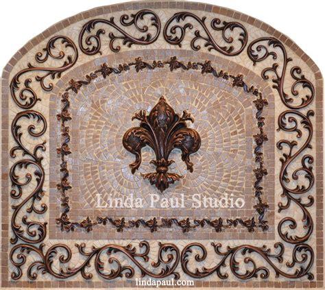 kitchen backsplash metal medallions fleur de lis mosaic and metal arched medallion backsplash 5048