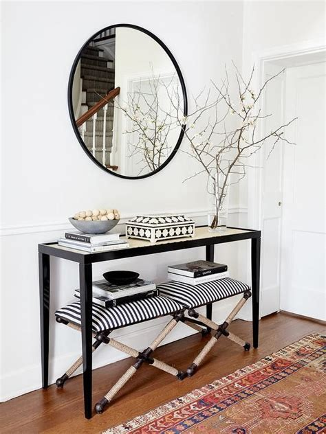Uttermost Entry Tables by Uttermost Braddock Small Bench Features A Black And White